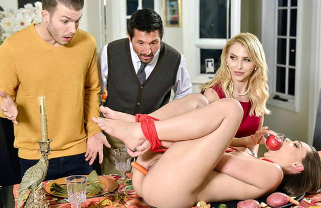 Групповой секс на праздничном ужине закончился спермой в рот